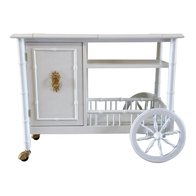 Image of Hollywood Regency Faux Bamboo Bar Cart
