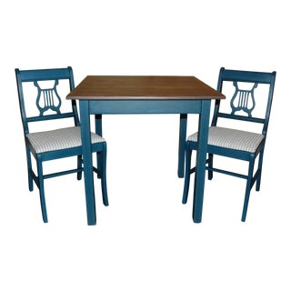 Painted Blue Table & Chairs