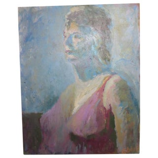Mid-Century Abstract Painting of a Woman
