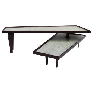 Modern Coffee Table Swing Out Level Faux Shagreen
