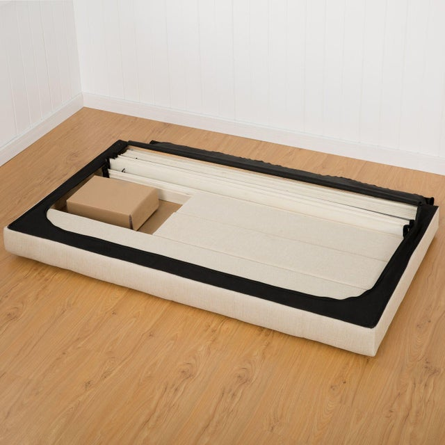 Image of Taupe Button Tufted Platform Full Bed