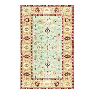 Green & Gold Traditional Hand Woven Rug - 9′1″ × 15′2″