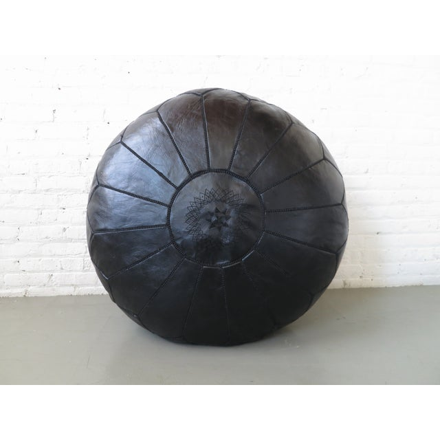 Moroccan Black Leather Pouf - Image 2 of 6