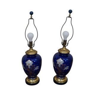 Cobalt Blue Porcelain Floral Gold Paint Lamps - Pair