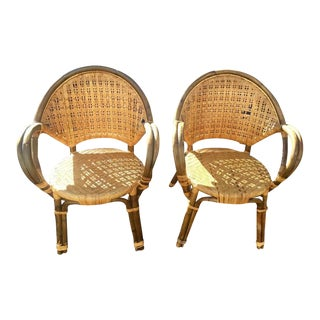 Mid-Century Bent Arm Bamboo Chairs - A Pair