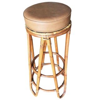 Set of Four Hair Pin Leg Rattan Bar Stool