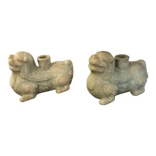 Vintage Foo Dogs / Dragon Candleholders - a Pair