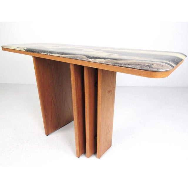 Mid-Century Teak and Marble Console Table by Bendixen Design - Image 4 of 11
