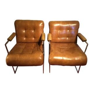 Milo Baughman Style Chairs - Pair