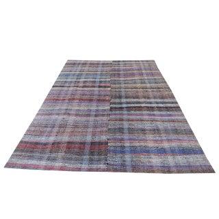 Vintage Turkish Multi-Colored Handmade Flatweave Rug - 7′6″ × 11′1″