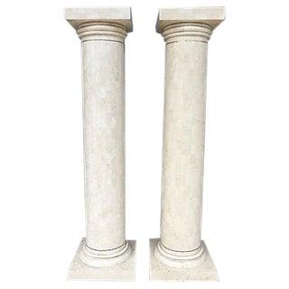 Tessellated Stone Columns - a Pair