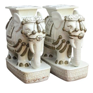 Vintage Chinoiserie Elephant Garden Stools - Pair