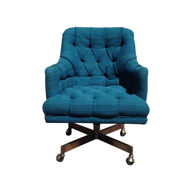 Teal Office Chair : Oversized teal tufted office chair chairish