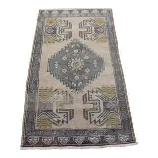 "Doormat Rug, Vintage Turkish Small Rug - 1'10"" X 3'4"""