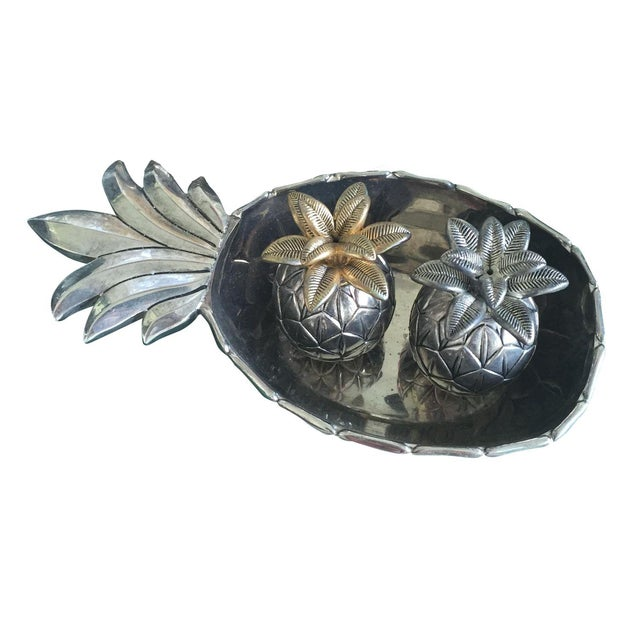 Vintage Silver Pineapple Bowl With Matching Pineapple Salt & Pepper Shaker Set - Image 1 of 10
