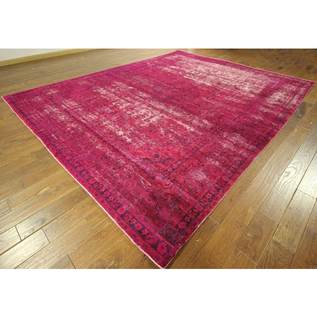 """Pink Overdyed Floral Area Rug - 9'7"""" x 12'2"""" - Image 2 of 10"""