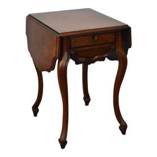 Antique Victorian Walnut Drop Leaf Cabriole Leg Work Table w/ Drawer