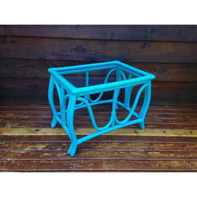 Blue Vintage Rattan Table - Image 4 of 7