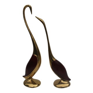 Vintage Brass Cranes Decorative Table Sculptures A Pair.