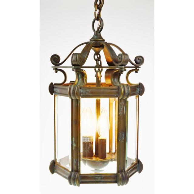 Bronze & Beveled Glass 3 Light Lantern Light Fixture - Image 2 of 11