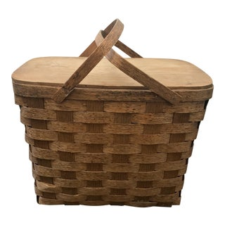 Mid-Century Bent Oak Wood Picnic Basket With Tray