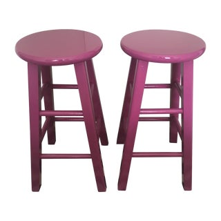 Glossy Mulberry Stools - Pair