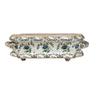 19th Century French Hand-Painted Faience Jardinière