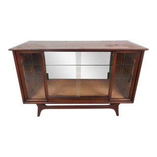 Compact Mid-century Modern Sliding Door Display Cabinet