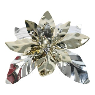 Silver and Gold Poinsettia Candle Holder