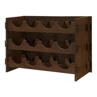 Circa 1975 Arts & Crafts Style Wood Wine Rack