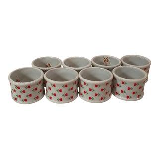 Mid-Century Modern Ceramic Heart Flower Napkin Rings - Set of 8