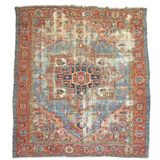 Sky Blue Distressed Persian Heriz Rug - 9'2'' x 11'7''