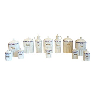 Vintage Porcelain Kitchen Canisters - Set of 12