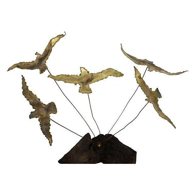 Image of Mid-Century Gilded Kinetic Seagull Sculpture