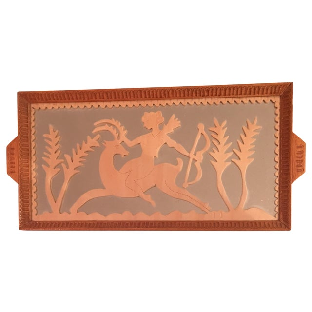 Image of Vintage Art Deco Hand Carved Tray