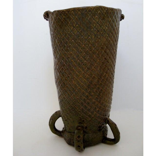 Olive & Brown Artisan Ceramic Vase - Image 5 of 8