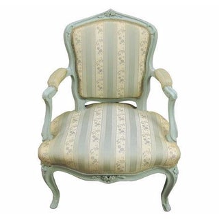 Antique French Ladies Painted Bergere Armchair