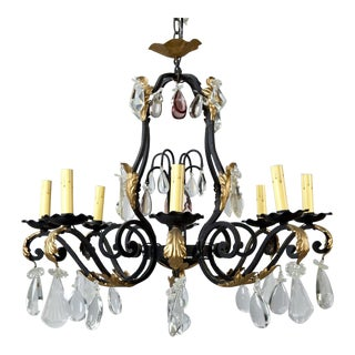 French Eight Light Iron Gilt and Crystal Chandelier
