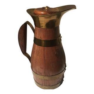 Italian Vintage Wooden Brass Pitcher