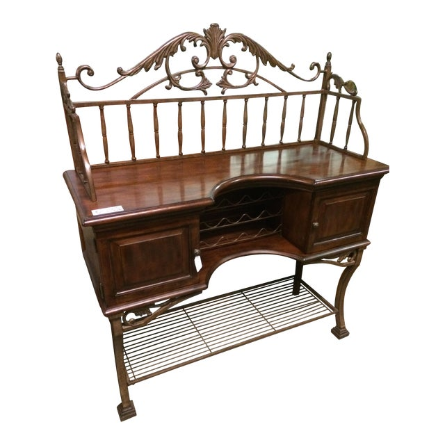 Beautiful Wrought Iron & Dark Wood Buffet - Image 1 of 10