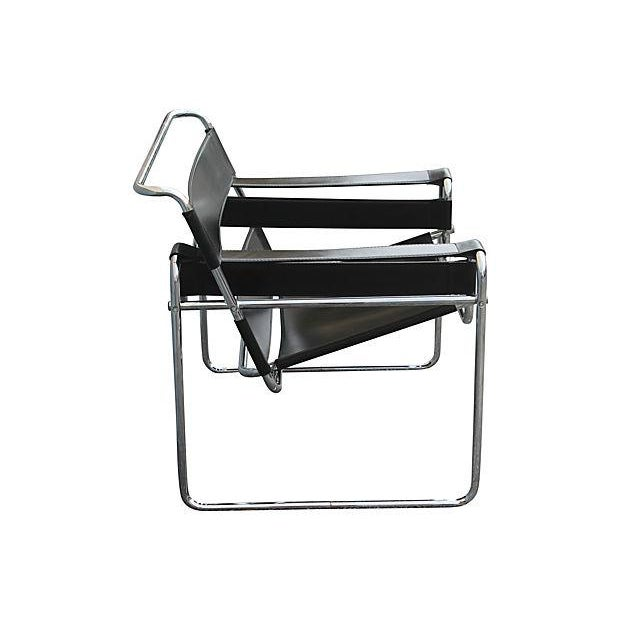 Mid Century Modern Wassily Style Leather Amp Chrome Chair