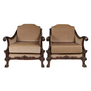 1920s Edwardian-Style Bergere Chairs - A Pair