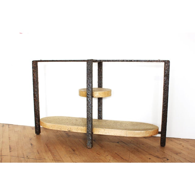 Minimalist Brutalist Fused Bronze, Iron and Concrete Patio Table Base - Image 9 of 10