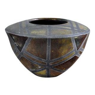 Banded Raku Pottery Vessel