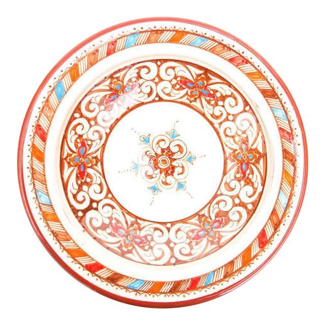 Moroccan Handpainted Brown Ceramic Plate - Image 1 of 4