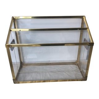 Campaign Style Lucite Magazine Rack