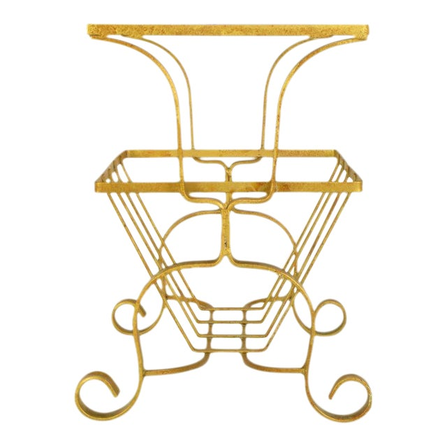 Gilt Iron & Glass Side Table With Magazine Caddy. - Image 1 of 6