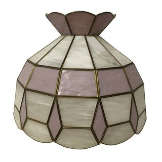 Pink and White Slag Glass Lamp Shade