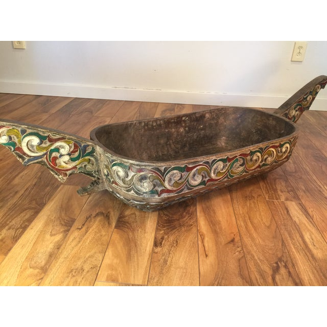 Filipino Carved & Painted Very Large Food Bowl - Image 3 of 8