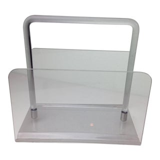 Vintage Lucite and Chrome Magazine Holder